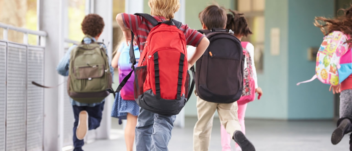 school kids running